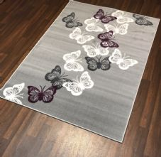 Modern Rugs Approx 6x4 120x170cm Woven Backed Grey/Silver Butterflys Quality